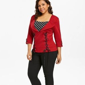 Tops - Lace Up Front Square Neck Top